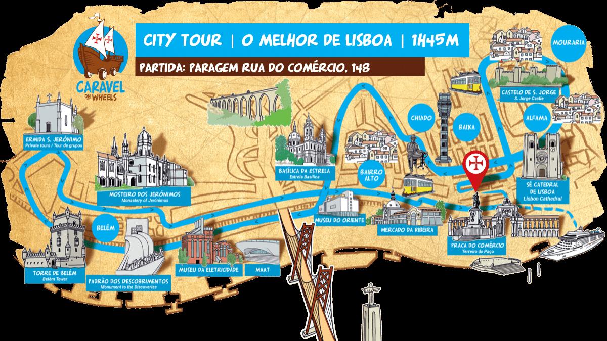 Circuito ruristico em Lisboa autocarro caravela. city tour passeio interativo