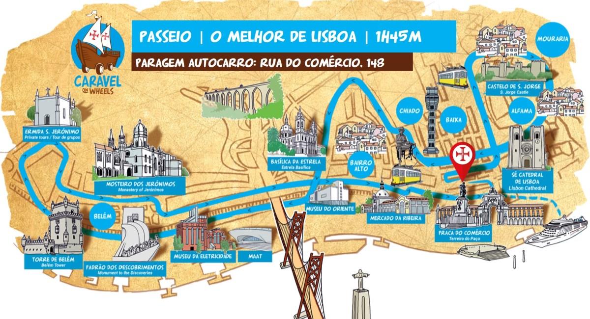 Mapa de Lisboa e da sua história no circuito de autocarro turístico caravela