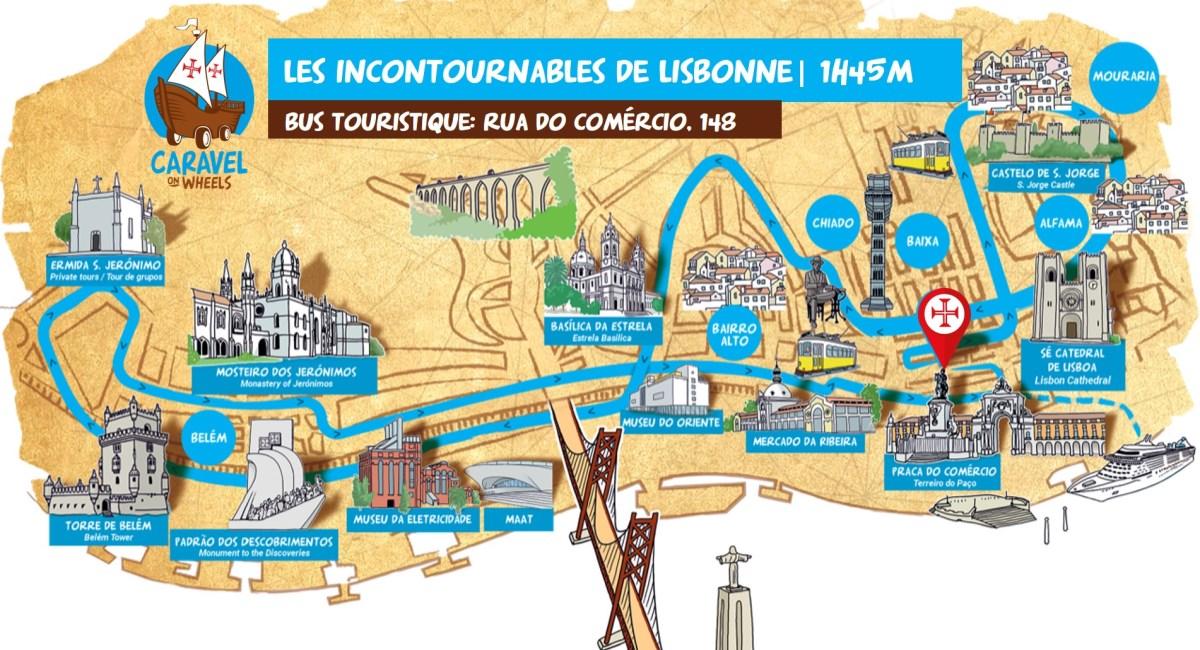 Carte de Lisbonne en tour les incontournables de lisbonne en bus touristique caravelle
