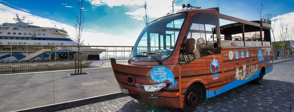 Autocarro em excursão por Lisboa desde o porto de cruzeiros